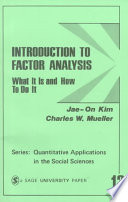 Introduction to Factor Analysis