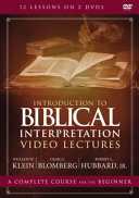 Introduction to Biblical Interpretation Video Lectures Book