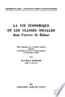 Le vie économique et les classes sociales dans l'œuvre de Balzac