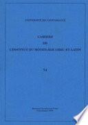 Cahiers De L Institut Du Moyen Age Grec Et Latin