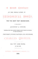 Pdf A Priced Catalogue of the Whole Stock of Theological Books, for the Most Part Second-hand, of the Late Firm of Dickinson & Higham
