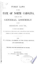 Public Laws of the State of North Carolina Passed by the General Assembly