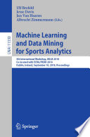 Machine Learning And Data Mining For Sports Analytics Book PDF