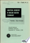 Analytical Chemistry in Nuclear Reactor Technology: Particle-size analysis