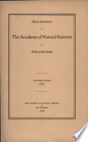 Proceedings Of The Academy Of Natural Sciences Vol Lxxxiii 1931