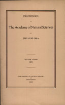 Pdf Proceedings of The Academy of Natural Sciences (Vol. LXXXIII, 1931) Telecharger