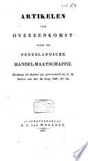 Artikelen van overeenkomst voor de Nederlandsche Handel-Maatschappij