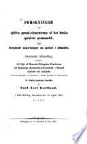 Forskningar uti sjelfva grund-elementerna af det finska språkets grammatik, efter föregående anmärkningar om språket i allmänhet