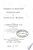 Etymological and Pronouncing Dictionary of Difficult Words Book PDF