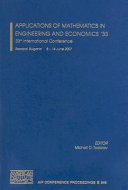 Applications of Mathematics in Engineering and Economics   33