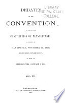Debates of the Convention to Amend the Constitution of Pennsylvania Book PDF