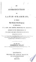 An Introduction to Latin Grammar Book
