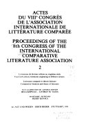 Pdf Proceedings of the ... Congress of the International Comparative Literature Association