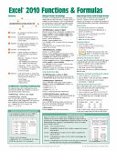 Microsoft Excel 2010 Functions   Formulas Quick Reference Guide