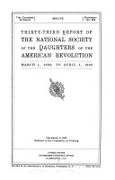 Report of the National Society of the Daughters of the American Revolution Book PDF