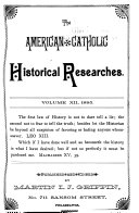 The American Catholic Historical Researches