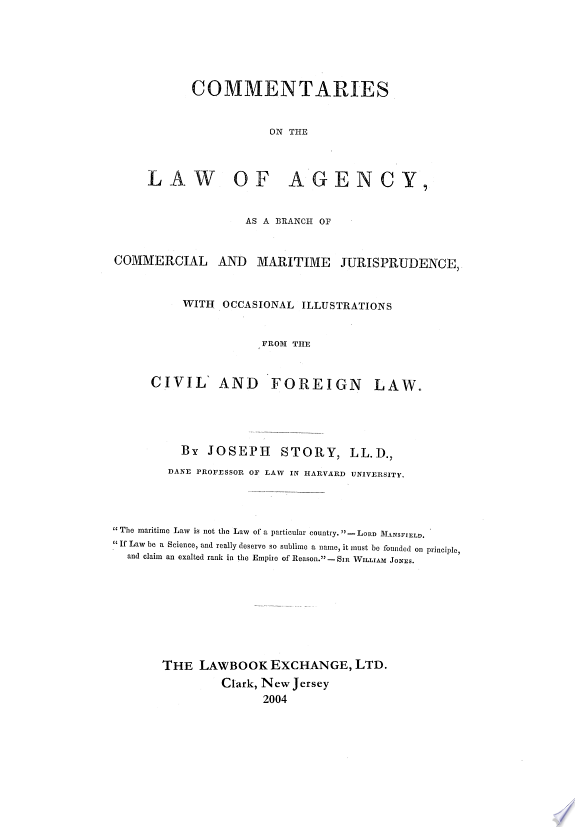 Commentaries on the Law of Agency,