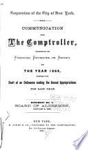 Communication Of The Comptroller Transmitting Financial Estimates