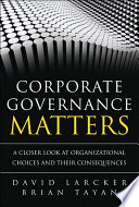 Corporate Governance Matters  : A Closer Look at Organizational Choices and Their Consequences, Portable Documents