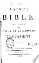 La Sainte Bible Troisi Me Dition Etc