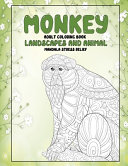 Adult Coloring Book Landscapes and Animal   Mandala Stress Relief   Monkey
