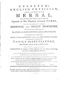 Culpeper's English Physician and Compelete Herbal ebook