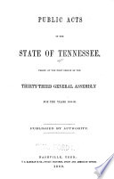 Public Acts of the State of Tennessee Passed at the General Assembly by Tennessee PDF