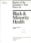Report of the Secretary s Task Force on Black   Minority Health  Crosscutting issues in minority health