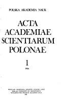 Acta Academiae Scientiarum Polonae
