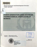Power Generation Using Advanced Thermochemical Gasification of Biomass Book