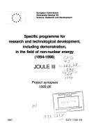 Specific Programme for Research and Development, Including Demonstration, in the Field of Non-nuclear Energy, 1994-1998