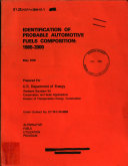 Identification of Probable Automotive Fuels Composition  1985 2000