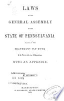 Laws of the General Assembly of the Commonwealth of Pennsylvania Passed at the Session Book