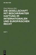 Die Gesellschaft mit beschränkter Haftung im internationalen und europäischen Recht