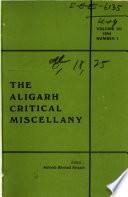The Aligarh Critical Miscellany