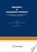 Deposition of Atmospheric Pollutants Book