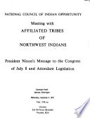 Transcript of Regional Hearings on President's Indian Message July 8, 1970 and on Attendant Legislative Package