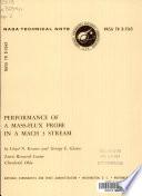 Performance Of A Mass Flux Probe In A Mach 3 Stream