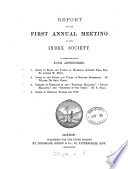 Report of the first (second) annual meeting. To which are added appendixes