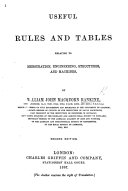 Useful Rules and Tables Relating to Mensuration  Engineering  Structures  and Machines