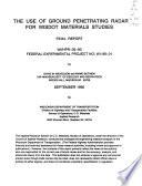 The Use of Ground Penetrating Radar for WISDOT Materials Studies