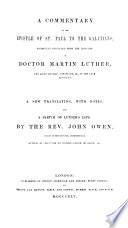 A Commentary on the Epistle of St  Paul to the Galatians  By Martin Luther