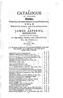 A catalogue of valuable books     sold wholesale  retail  and for exportation by James Asperne     No  32  Cornhill  Oct  1805