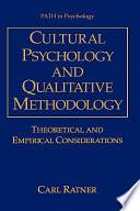 Cultural Psychology and Qualitative Methodology Book