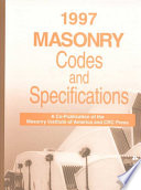 1997 Masonry Codes and Specifications Book
