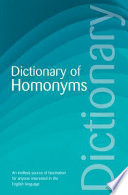 """""""Dictionary of Homonyms"""" by David Rothwell"""