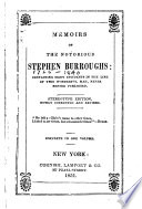 Memoirs of the Notorious Stephen Burroughs Book