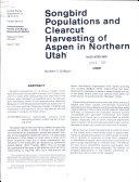 Songbird Populations and Clearcut Harvesting of Aspen in Northern Utah