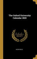 The Oxford University Calendar 1820