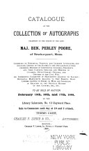 Catalogue of the Collection of Autographs Belonging to the Estate of the Late Maj  Ben  Perley Poore